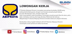Lowongan Kerja BUMN PT. Brantas Abipraya (Persero) S1 Ekonomi