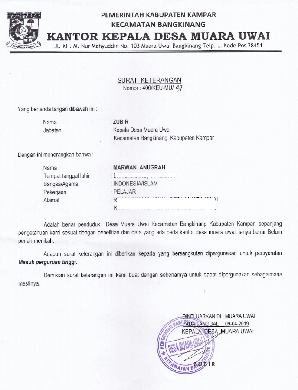 Contoh Surat Izin Rt Rw