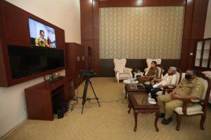 Video Conference, Bupati Asahan Ikuti Arahan Gubsu Soal Penanganan Covid-19